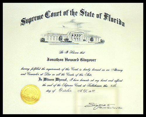 Admitted to the Florida Bar since 1991.