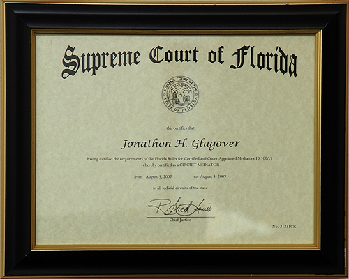 Supreme Court Certified to mediate Circuit and County Court Cases since 2007.