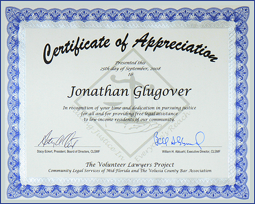 Recognized for service to the Community in 1994 and 2008 for Pro bono Service.